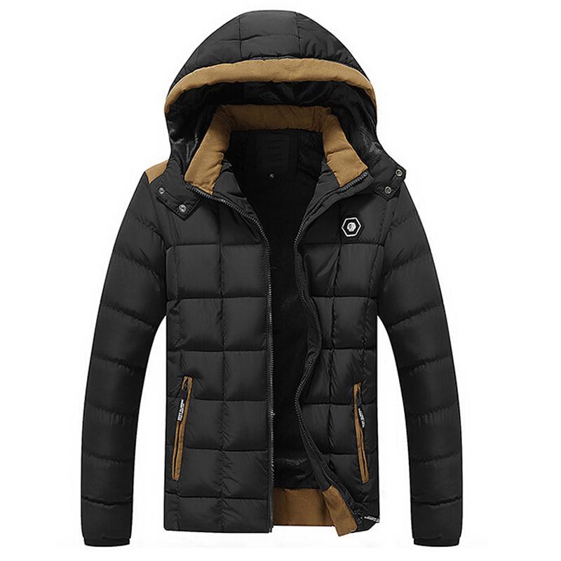 DressU Mens Pocket Zip Oversized Solid Warm Stand Collar Thickened Down Jacket