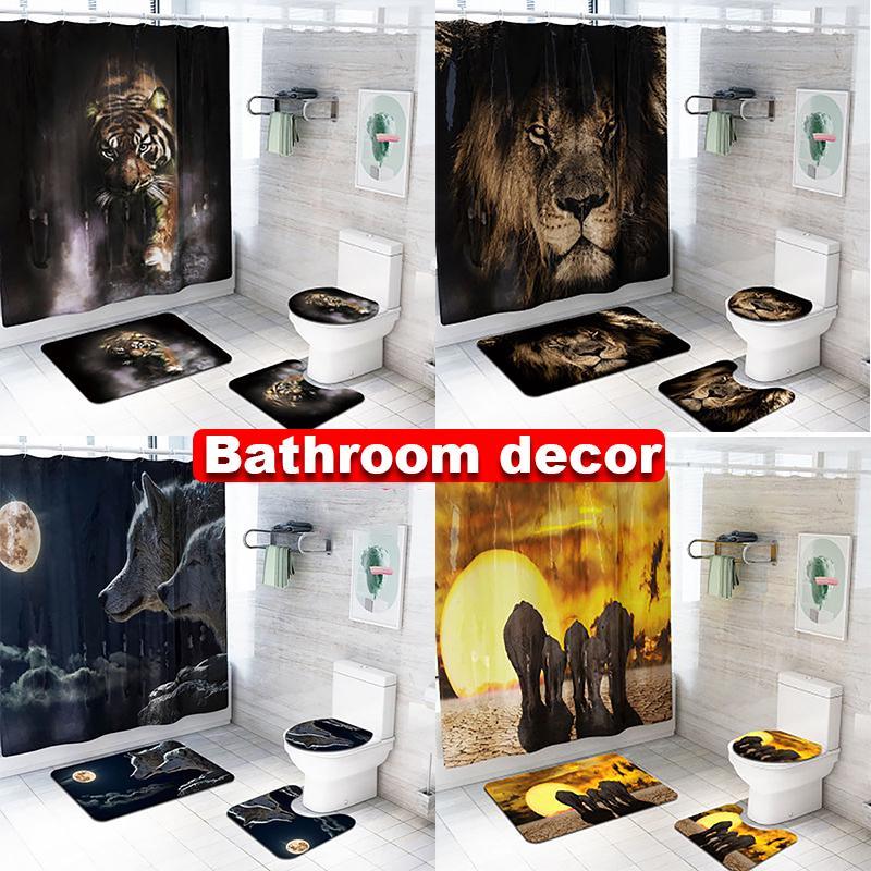 Wolf Shower Curtain Set Thick Bathroom Rugs Bath Mat Non-Slip Toilet Lid Cover