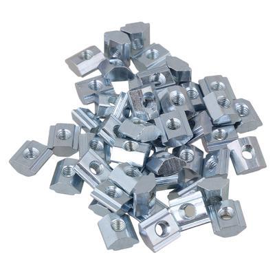 30x T Sliding Nut Drop In M6 for 30 Series European Aluminum Slot Silver