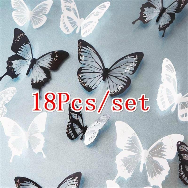 18pcs/набор DIY 3D бабочки стены наклейки Art Термоаппликации ПВХ бабочек Home Decor