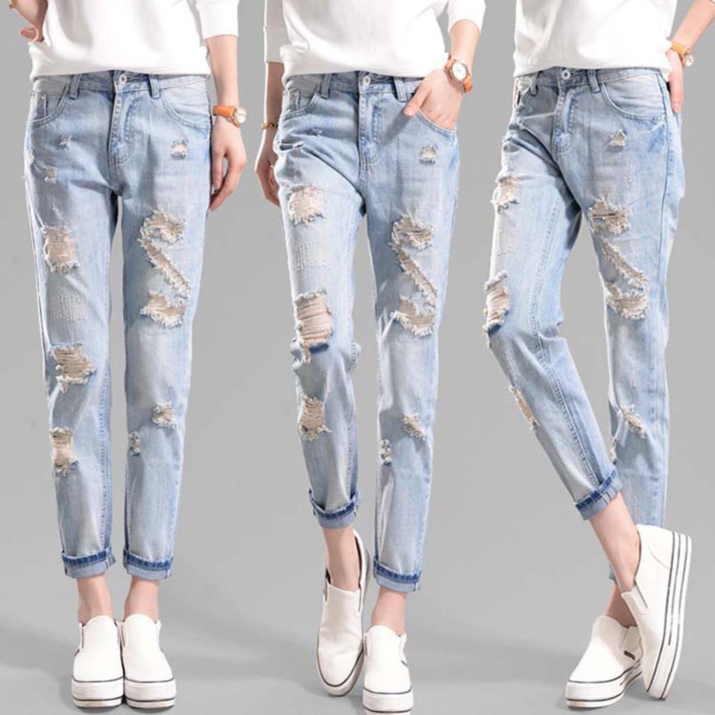 Mujer Agujero Suelto Casual Pantalones Rotos Ser Estilo Lapiz Harem Jeans Pantalones Comprar A Precios Bajos En La Tienda En Linea Joom