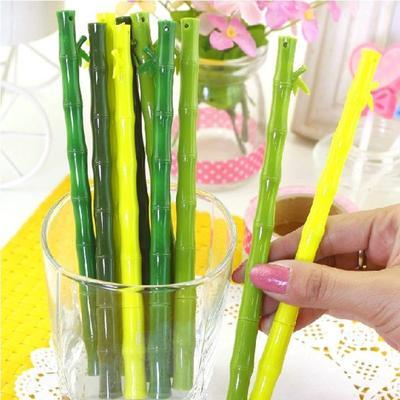 0.38mm Black Refill Pens Realistic Bamboo Shape Gel Writing Pen Office School Supplies