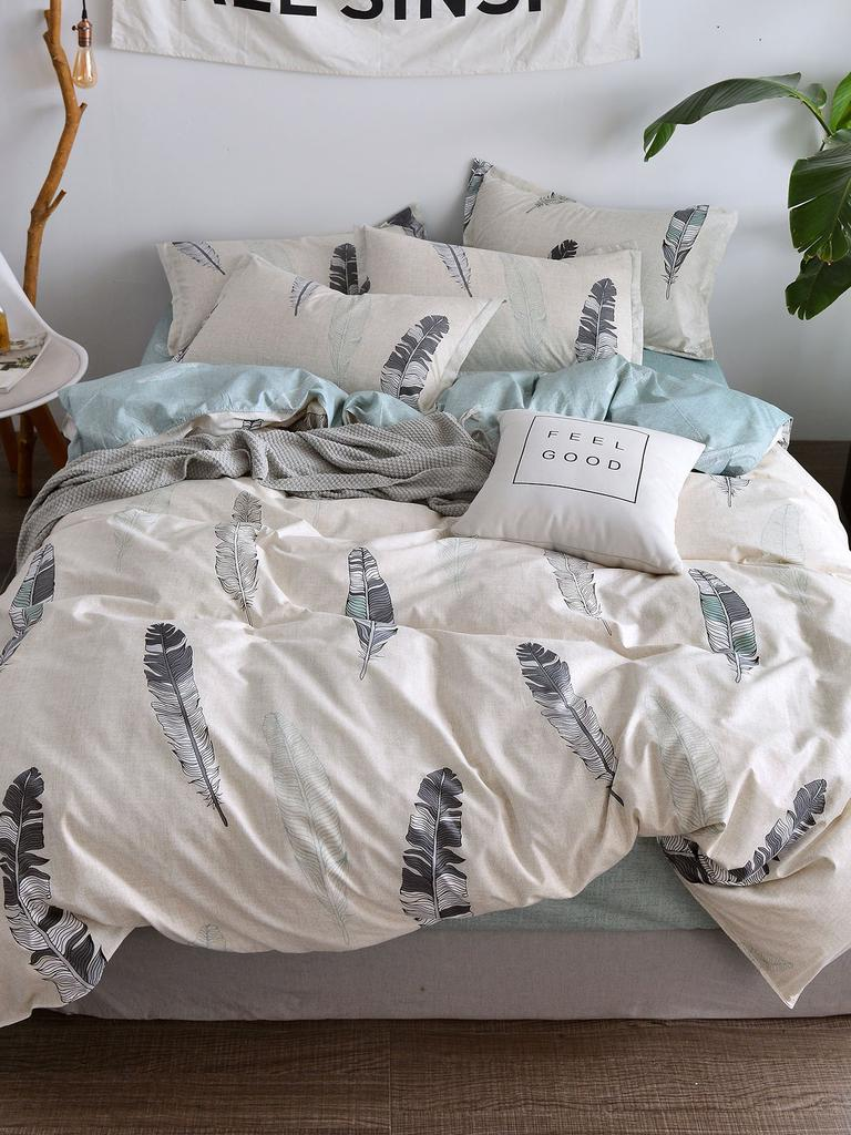358dad3420 SHEIN Feather Print Sheet Set-buy at a low prices on Joom e-commerce ...