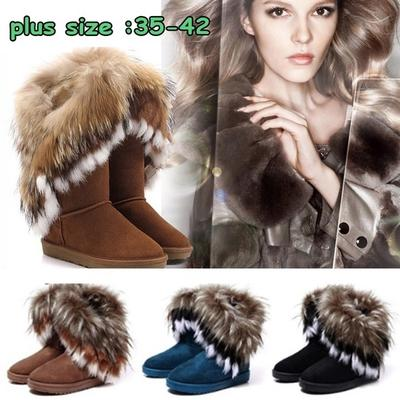 9bfa466b57 Moda damska Jesień Zima Śnieg Buty Botki Ciepłe buty z futra syntetycznego