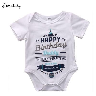 Childrens Wear Newborn Infant Baby Boy Girl 100 Cotton Short Sleeve Birthday Jumpsuit Clothes