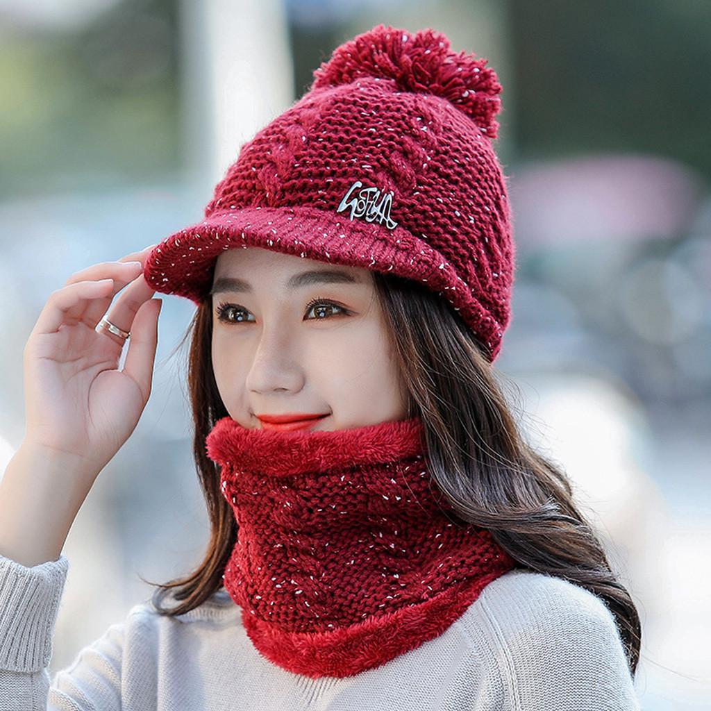 Набор 2шт женщин зима теплая вязаная шапка Venonat шапка + шарф согреться – купить по низким ценам в интернет-магазине Joom