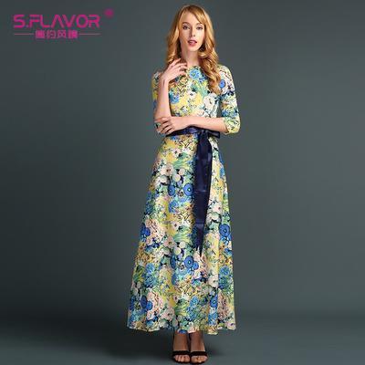 2ff3acf46f9 Богемный стиль женщины длинное платье осени печати элегантной  непринужденной Festa де Vestidos российского длинное платье