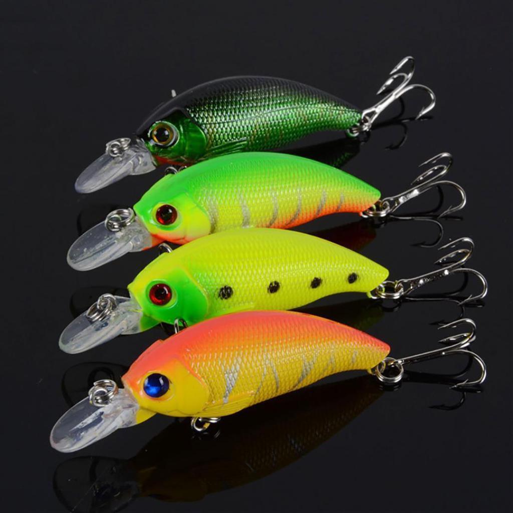 4 цвета пластиковых жесткий Crank приманка приманки рыбалка приманки два ВЧ крючки – купить по низким ценам в интернет-магазине Joom