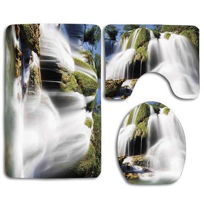 Forest Moss Waterfall Shower Curtain Toilet Cover Rug Bath Mat Contour Rug Set