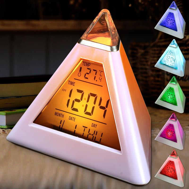 Цифровой 7 цвет изменение светодиодный будильник будильник термометр календарь фото