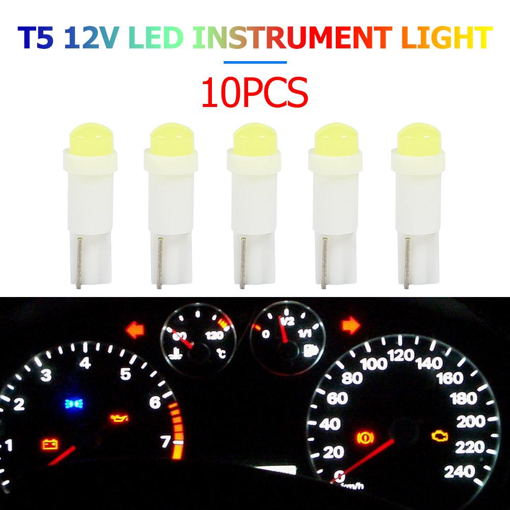 10x Bright T5 12V Car LED Bulbs Instrument Gauge Cluster Dash Lights Lamp New