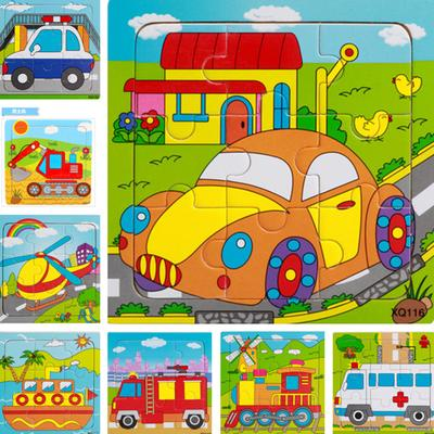 9 Slices Kids Wooden Vehicle Pattern Puzzles Jigsaw Baby Educational Learning Toy