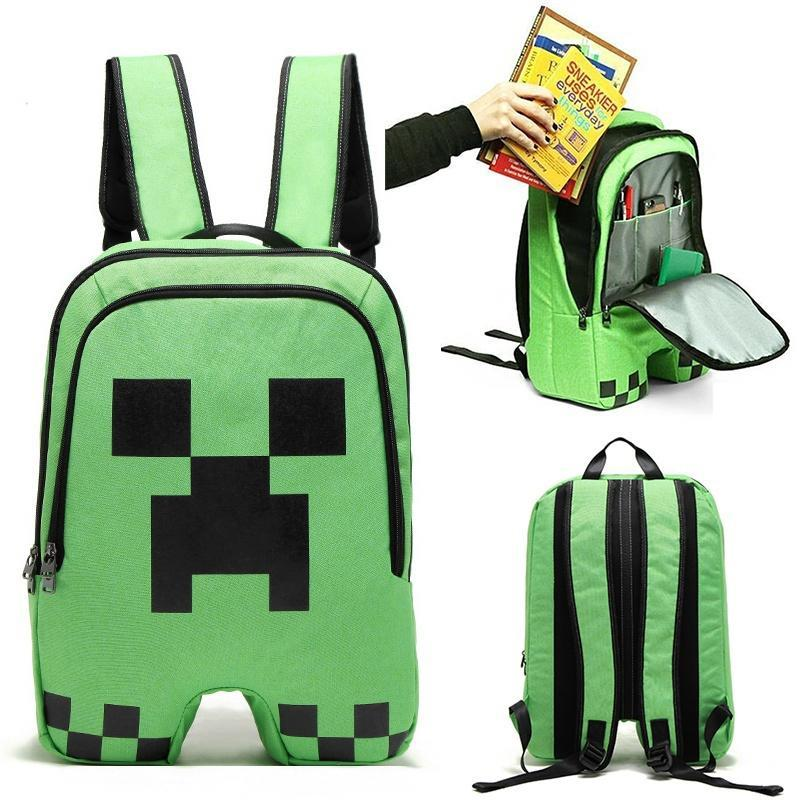 Minecraft Schoolbag School Backpack Rucksack Book Creeper Storage Bag Sports