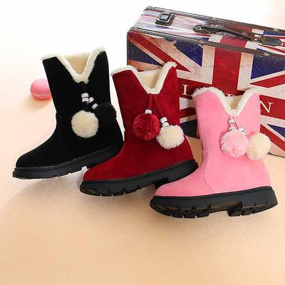 Winter Children Ankle Plush Boots for Girls Flat with Rubber Snow Boots Waterproof Non-slip Shoes