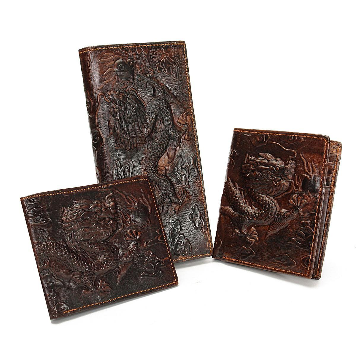 简约油蜡皮钱包男女款真皮立体龙虎纹钱夹2折头层牛皮银包横竖款