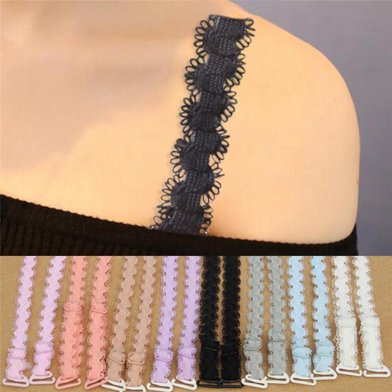 Декоративные регулируемые бретели с кружевной отделкой для бюстгальтера 5 цветов фото