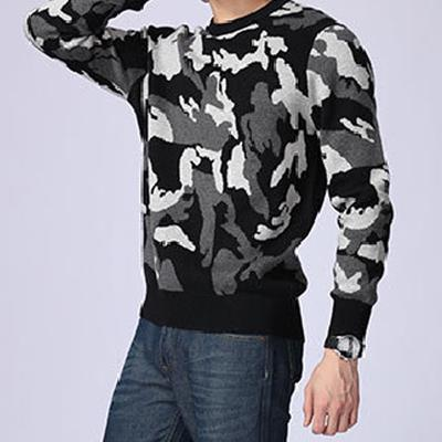 Domple Mens Fashion Long Sleeve Round Neck Camo Print Tee Top T-Shirts