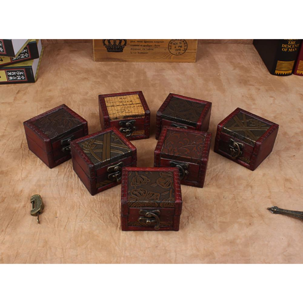 2PCS Handmade Wooden Vintage Small Antique Box Organizer Chest for Treasure Home