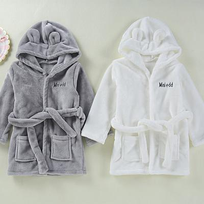 Unisex Baby Girls Boys Plush Hooded Animal Cat Bathrobe Nightgown Towel