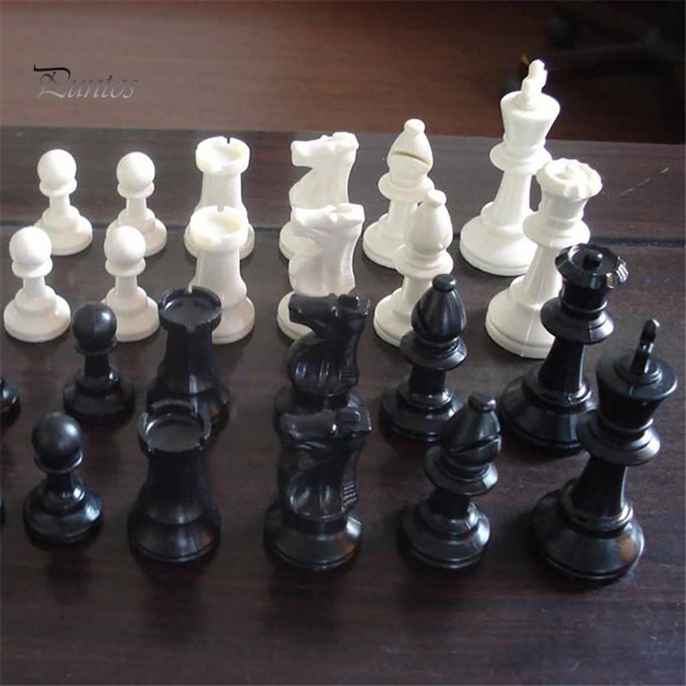 Puntos Пластиковые 32pcs/ Установить Черный - Белые средневековые шахматные фигуры игры Шахматисты 65/75/95mm – купить по низким ценам в интернет-магазине Joom
