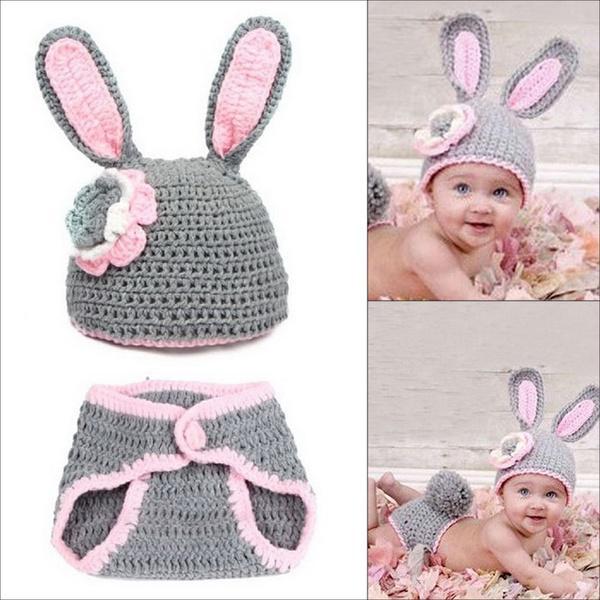 Bebé niña encanto conejo de ganchillo Traje Trajes fotografía apoyos ...
