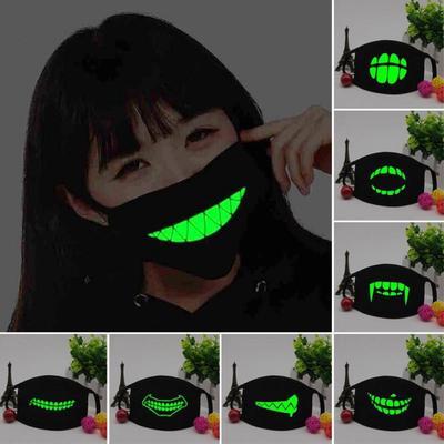 Creative Black Luminous Cotton Dust Mask Outdoor Personality Teeth Glow Anti Fog Haze
