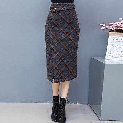 otoño lana cintura falda Cuadros larga abierta Vintage con Casual mujeres raja moda alta lápiz faldas yXgqZf