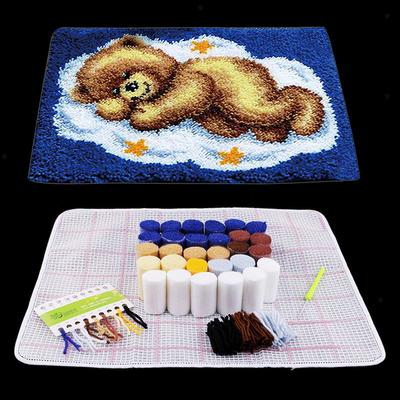 Bear Pattern Latch Hook Kits for Beginners Bear Cushion Rug Pillow Making