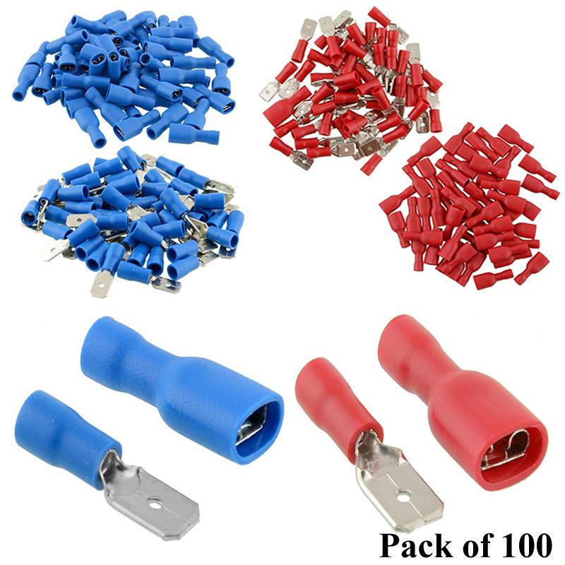 100x 2.8mm Crimp Terminals Female Spade Connectors 22-16AWG wire Insulating *yr