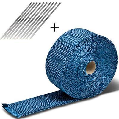 5m silenciador de escape de fibra de vidrio Encabezado Tubo Envoltura t/érmica Cinta de tela Kit de amarre Negro Envoltura t/érmica de escape de titanio