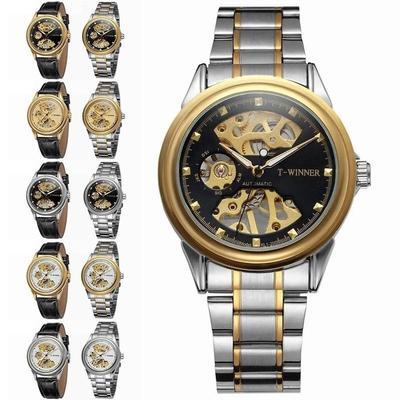 Mechanical Watches Skeleton Watches WINNER Brand Business Hand Wind Wristwatches For Men