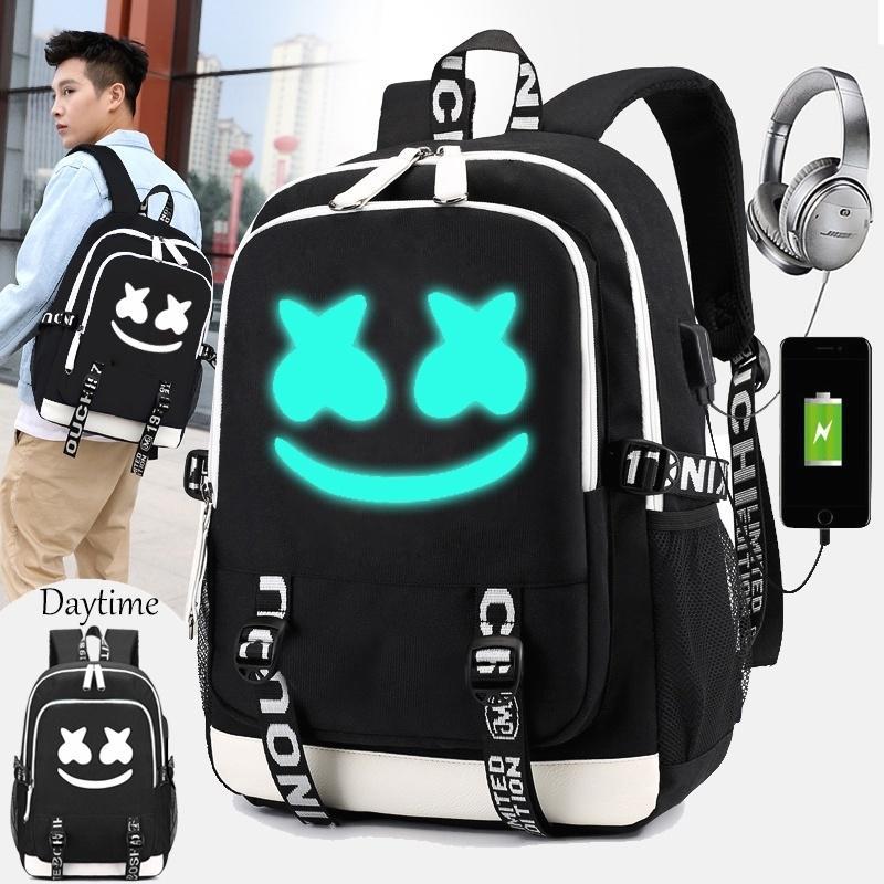 Mochila DJ Marshmallow multifunción de carga USB para adolescentes  estudiantes