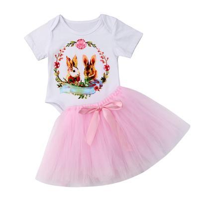 Newborn Baby Tutu Romper Girls Clothes Love Print Long Sleeve Mesh Dress Jumpsuit Infant Outfit