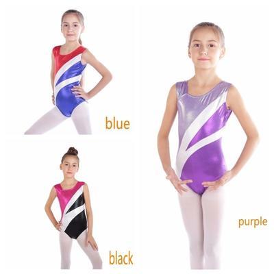 Girls Sparkly Gymnastics Leotards School Training Ballet Dance Tank Top 3-14Y
