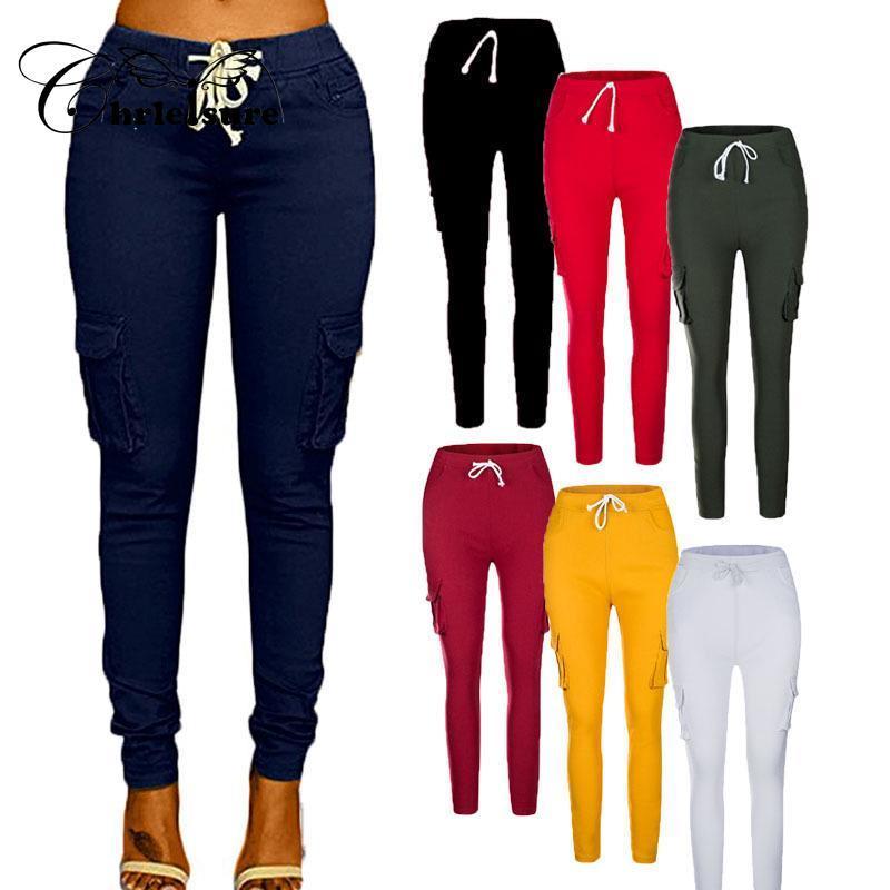 CHRLEISURE женская мода Твердый цвет Тонкий брюки джинсовые многокарманные повседневные брюки