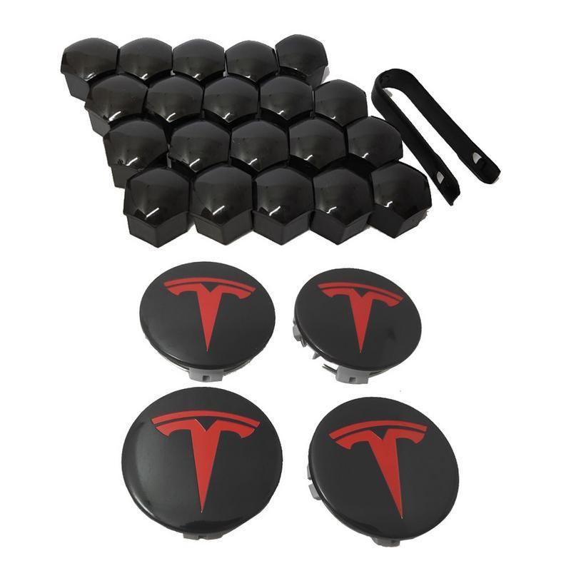 Model X Hub Cover Kit Wheel Center Cover Caps Hub Cover Logo Badge Aero Wheel Cap Kit for Tesla Model S 4PCS Model 3