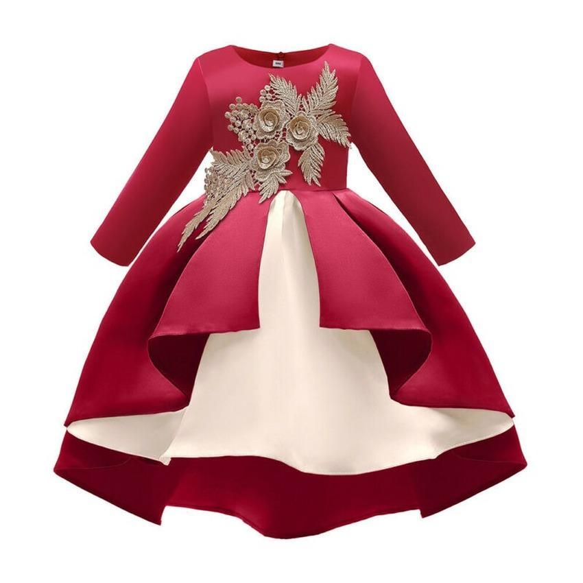 Kids Girls Long Sleeve Princess Dress Casual Party Elegant Swing Dresses Clothes