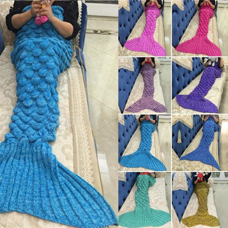 New Adult Knitted SOFT Quilt  RUG Mermaid Blanket TAIL Crochet One Size