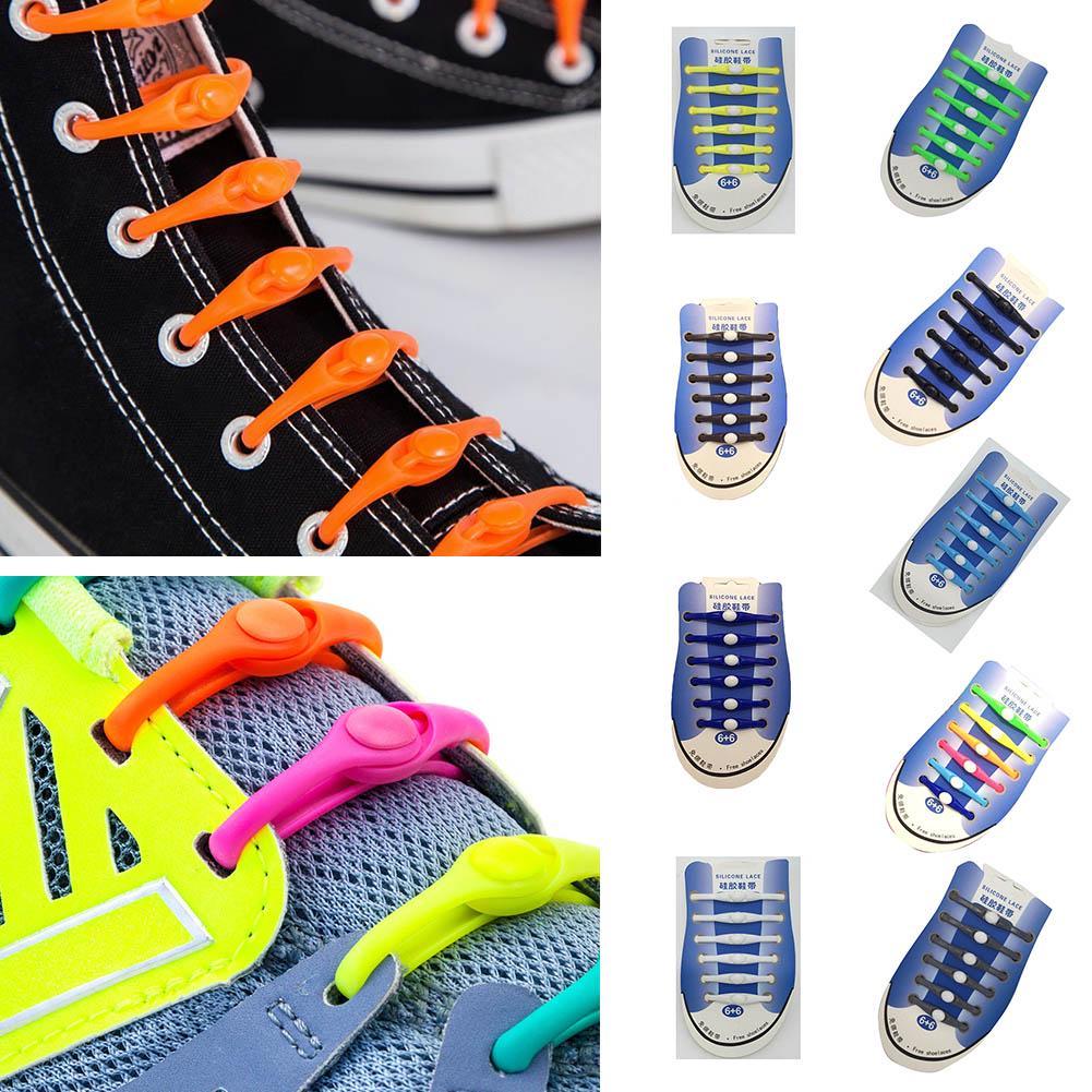 12 PCS Novelty No Tie Elastic Silicone Shoe Lace Sneakers Trainer Shoelaces