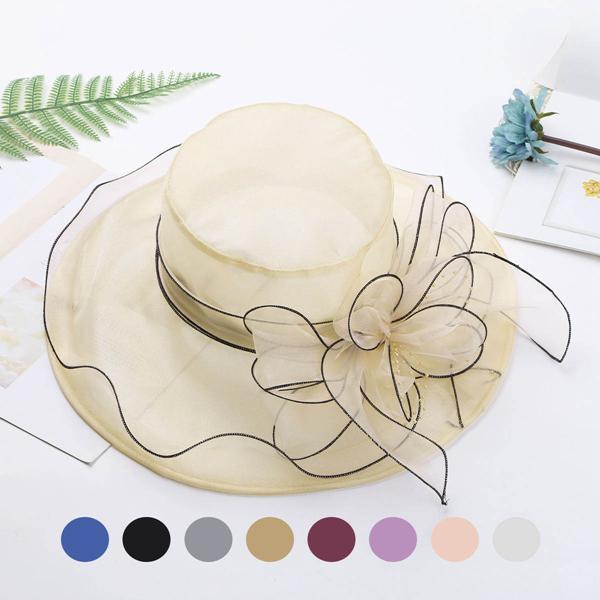 Summer Outdoor Various Flowers Mesh Sun Hat Ladies Wedding Church Party Great