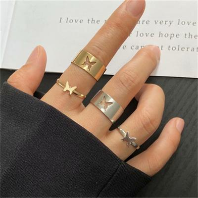 2PCS Ins Ring Punk Couple Ring Men and Women Pair Ring Combination Butterfly Index Finger Ring
