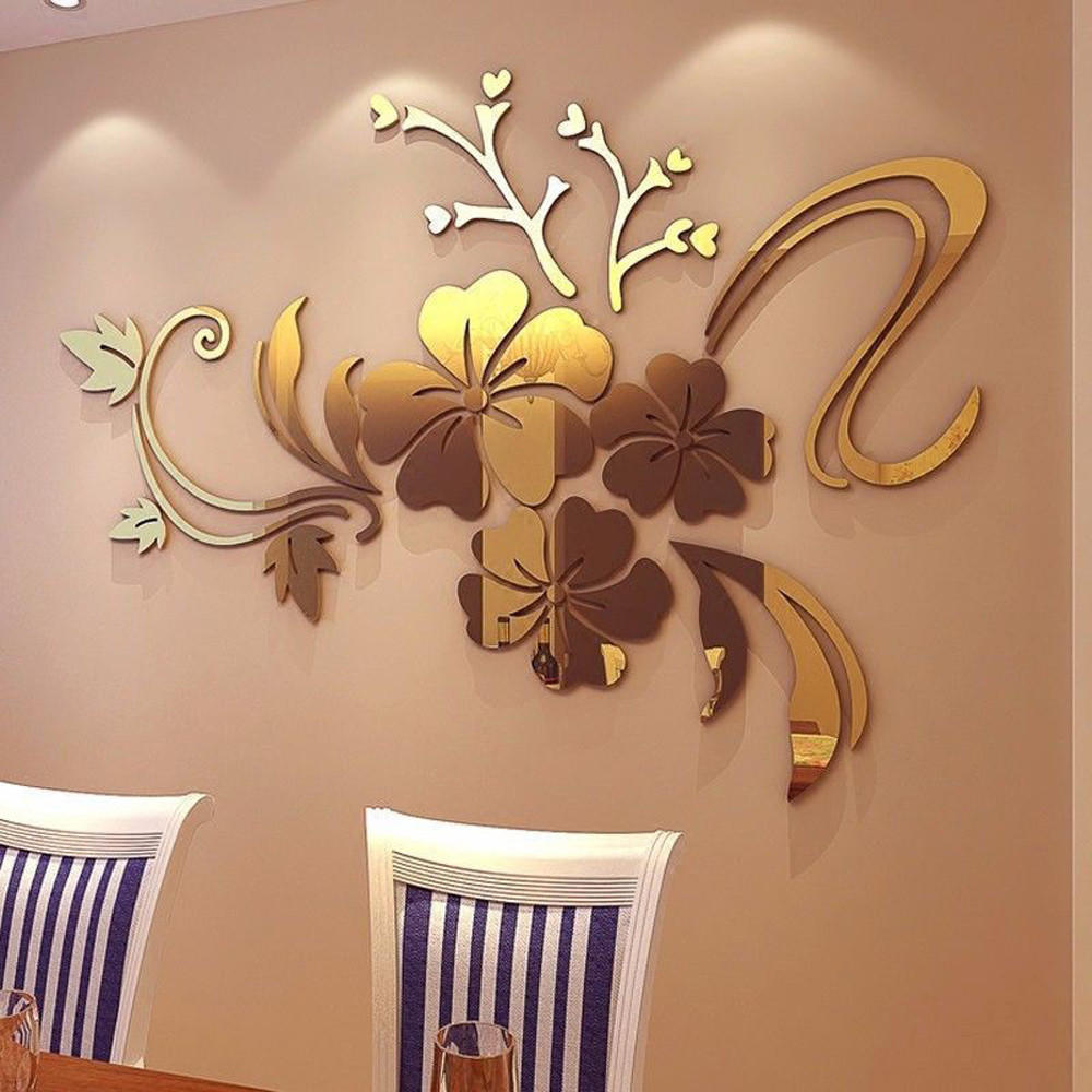 3D Mirror Flower Acrylic Mural Decal Removable Wall Sticker DIY Home Decor GB