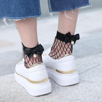 Fashion Women/'s Ruffle Fishnet Ankle Socks Sheer Mesh Lace Fish Net Short Socks