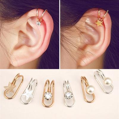 Fashion Simple Star Heart Round Metal Ear Clip Female Jewelry Party Gift Women Earring