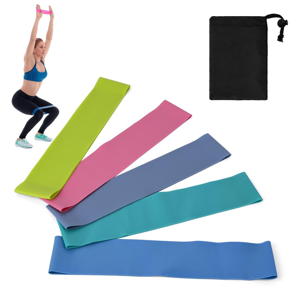 5pcs Resistance Bands Loop Exercise Sports Fitness Home Gym Yoga Latex Set w//Bag