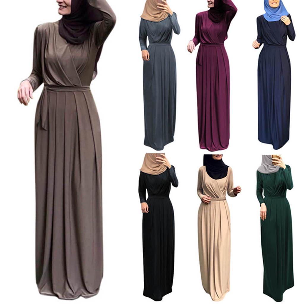 Details about  /Gulzar Chinees Collor Brown Islamic Abaya Indian Women Muslim Hijab Burqa Abaya