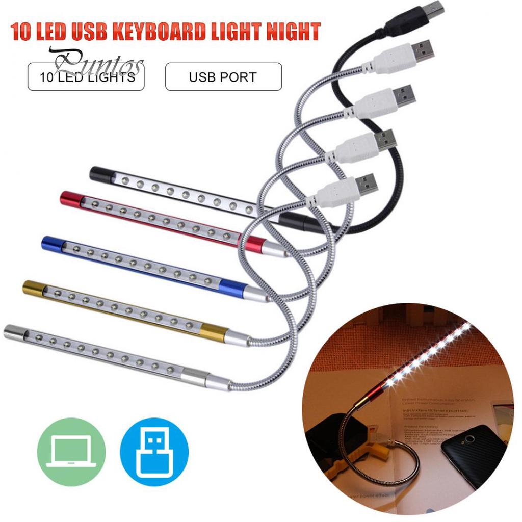 10LED USB Night Read Light Computer Keyboard Lamp Laptop Notebook Flexible Light