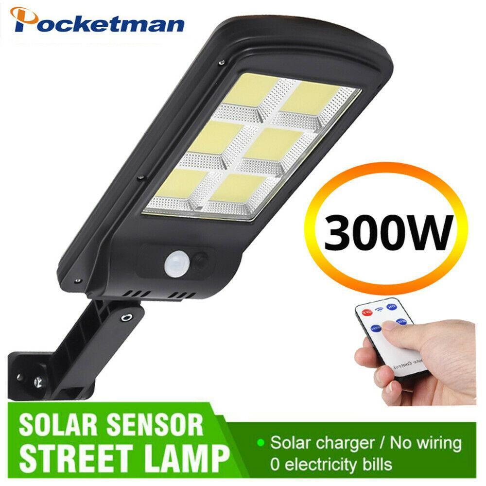 Control Remote 300W LED Solar Street Wall Light PIR Motion Sensor Outdoor Lamp