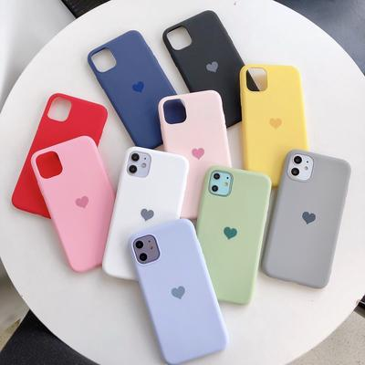 Candy Color Cute Love Phone Cases Soft Silicone Back Cover For iPhone 12 Pro MAX 12 Mini 11 Pro Max XS XR 8 7 6 SE 2020