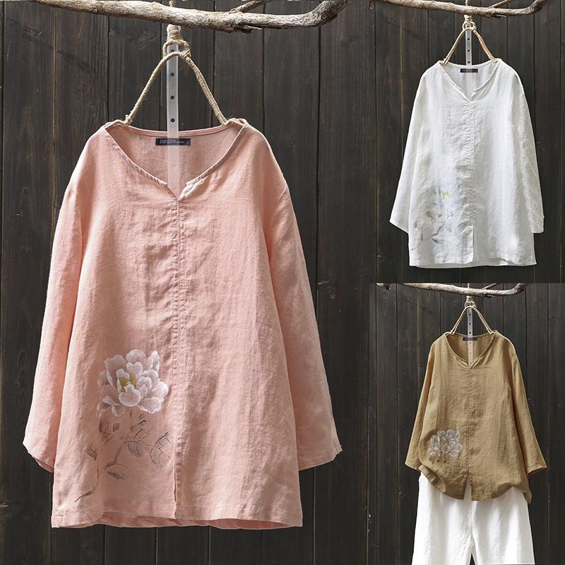 АНЗАЗЕА Винтаж женщин цветочные печатные V-образный вырез рубашки Осень Длинные рукава случайных Хлопок Блузка Топы – купить по низким ценам в интернет-магазине Joom